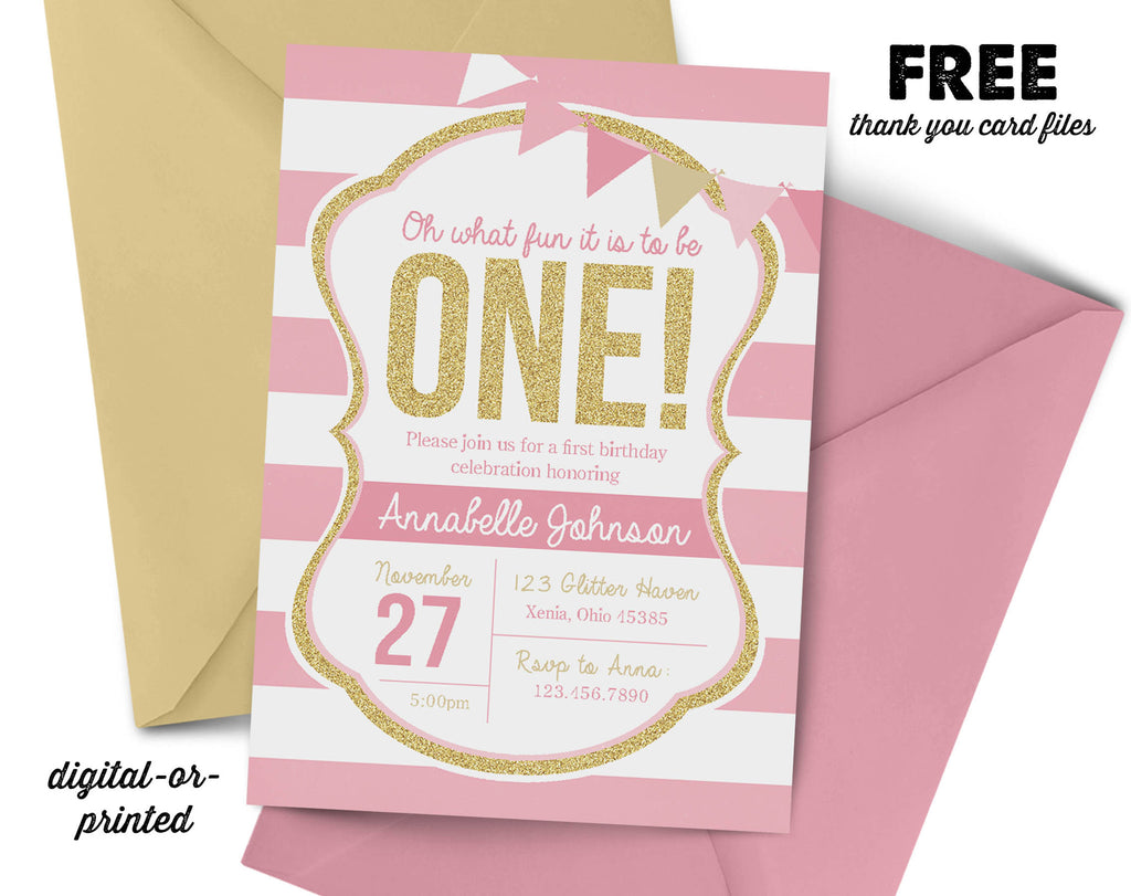 Pink and Gold First Birthday Invitation, Glitter first Birthday party invitation, pink and gold birthday, party invitation printable