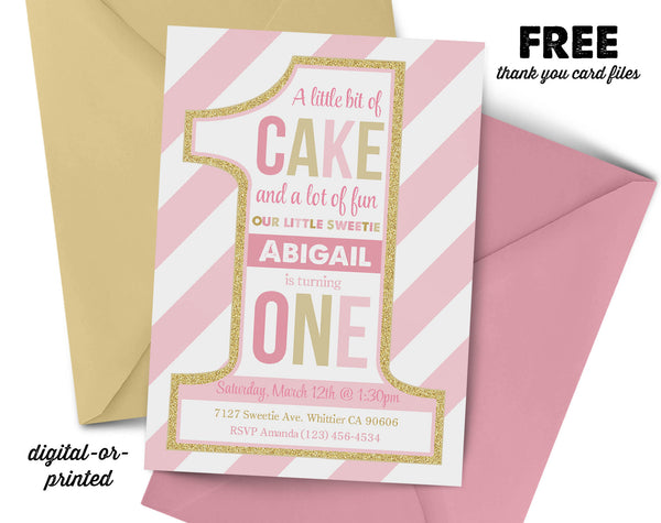 Pink and Gold First Birthday Invitation, first birthday party invitation, first birthday, party invitation printable