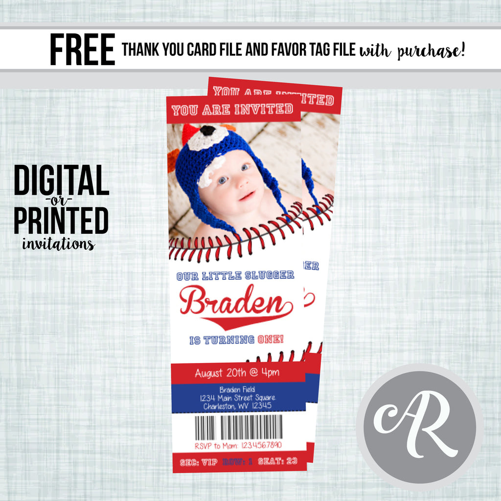 Baseball Ticket Birthday Invitation - AbbyReese Design