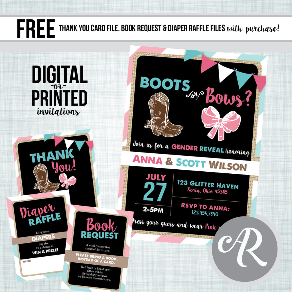 Boots or Bows Gender Reveal Invitation - AbbyReese Design