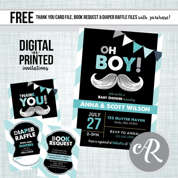Little Man Mustache Baby Shower Invitation - AbbyReese Design