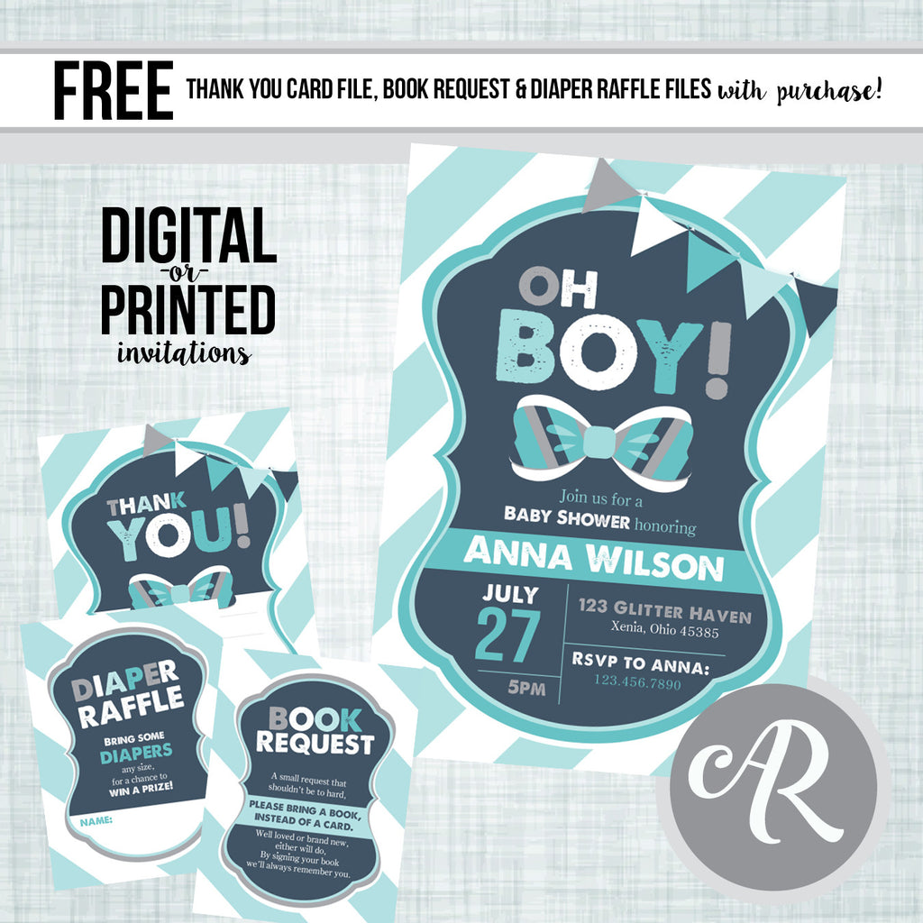 Little Man Bow Tie Baby Shower Invitation - AbbyReese Design