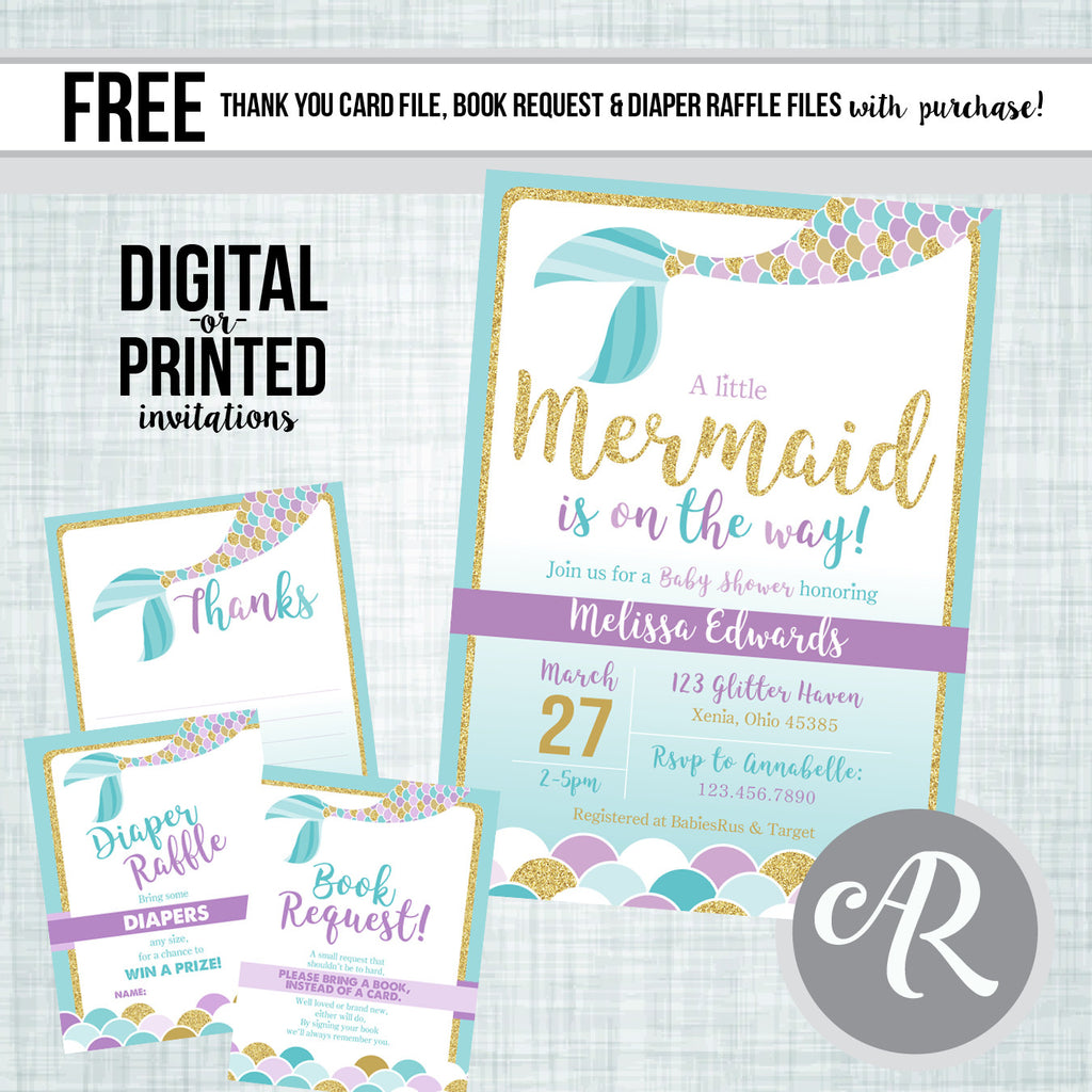 picture relating to Printable Mermaid Baby Shower Invitations identified as Mermaid Little one Shower Invitation