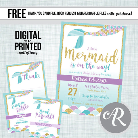 Mermaid Baby Shower Invitation - AbbyReese Design