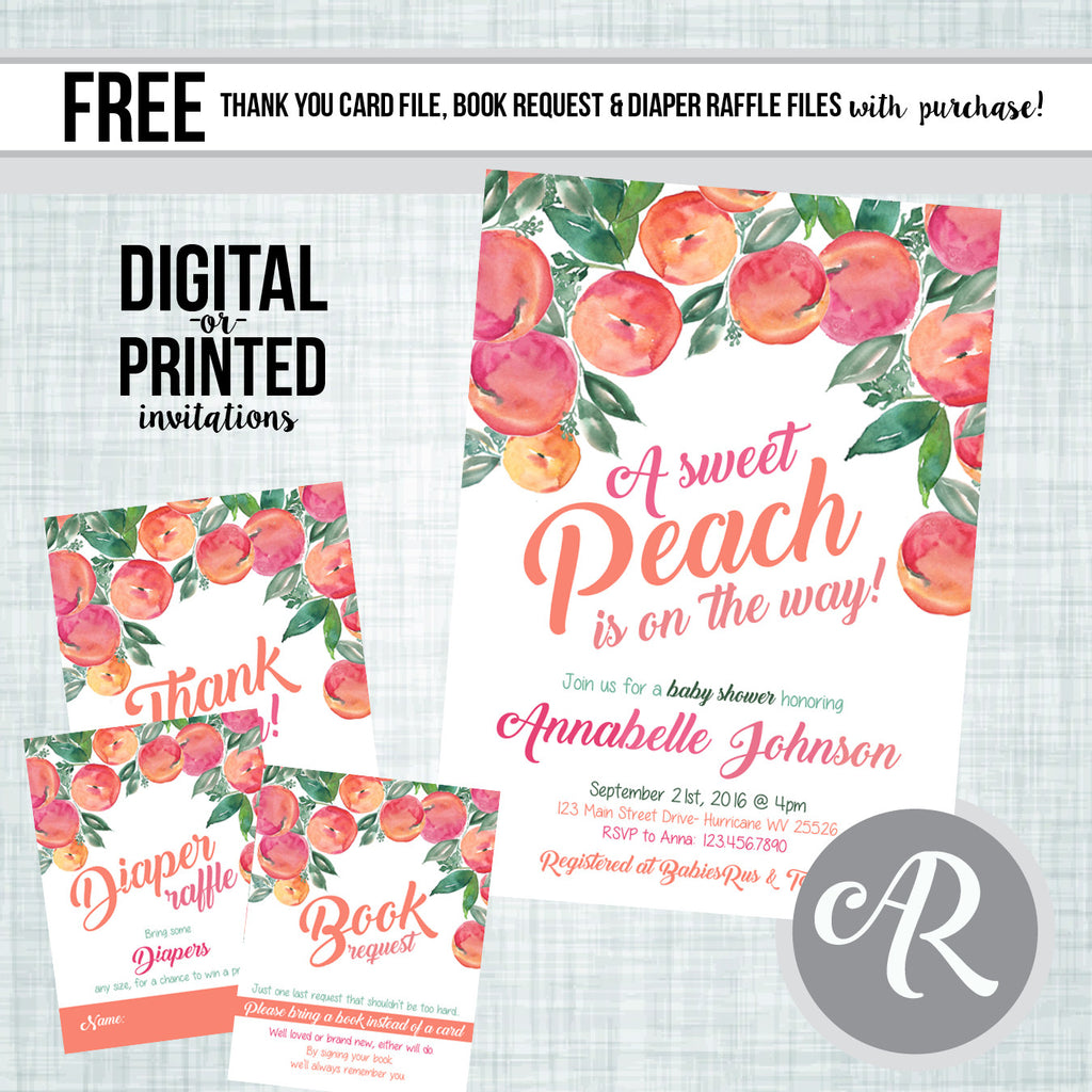Sweet as a Peach Baby Shower Invitation - AbbyReese Design