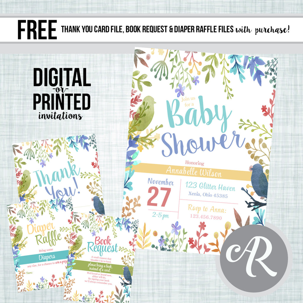 Watercolor Floral Baby Shower Invitation - AbbyReese Design