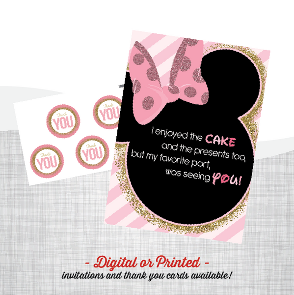 Minnie  Birthday Invitation, first birthday party invitation, Minnie birthday, party invitation printable
