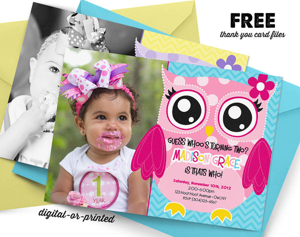 Owl Birthday Invitation, hoot hoot birthday party invitation, Owl birthday, party invitation printable, FREE thank you card