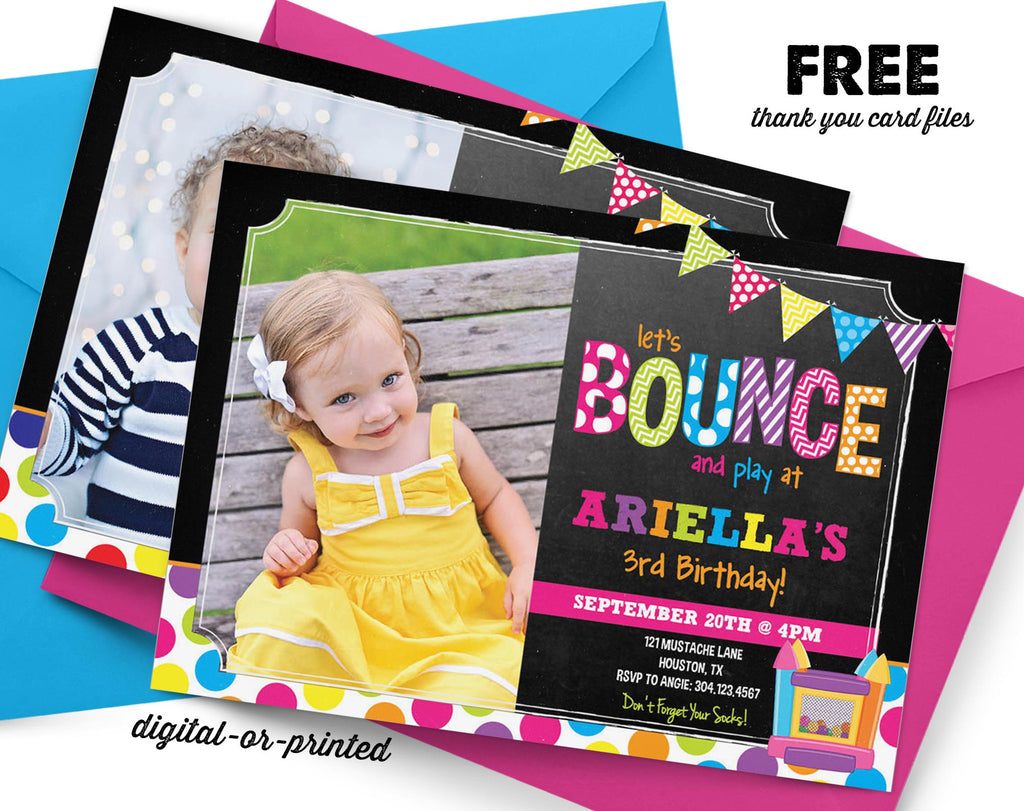Bounce Chalkboard Birthday Invitation – AbbyReese Design