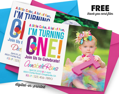 Birthday Invitations for Girls AbbyReese Design – The Big One Birthday Invitation