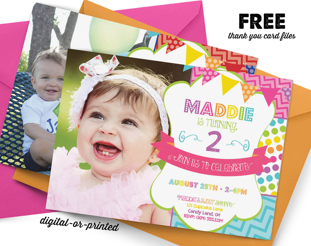 Rainbow Birthday Invitation - AbbyReese Design