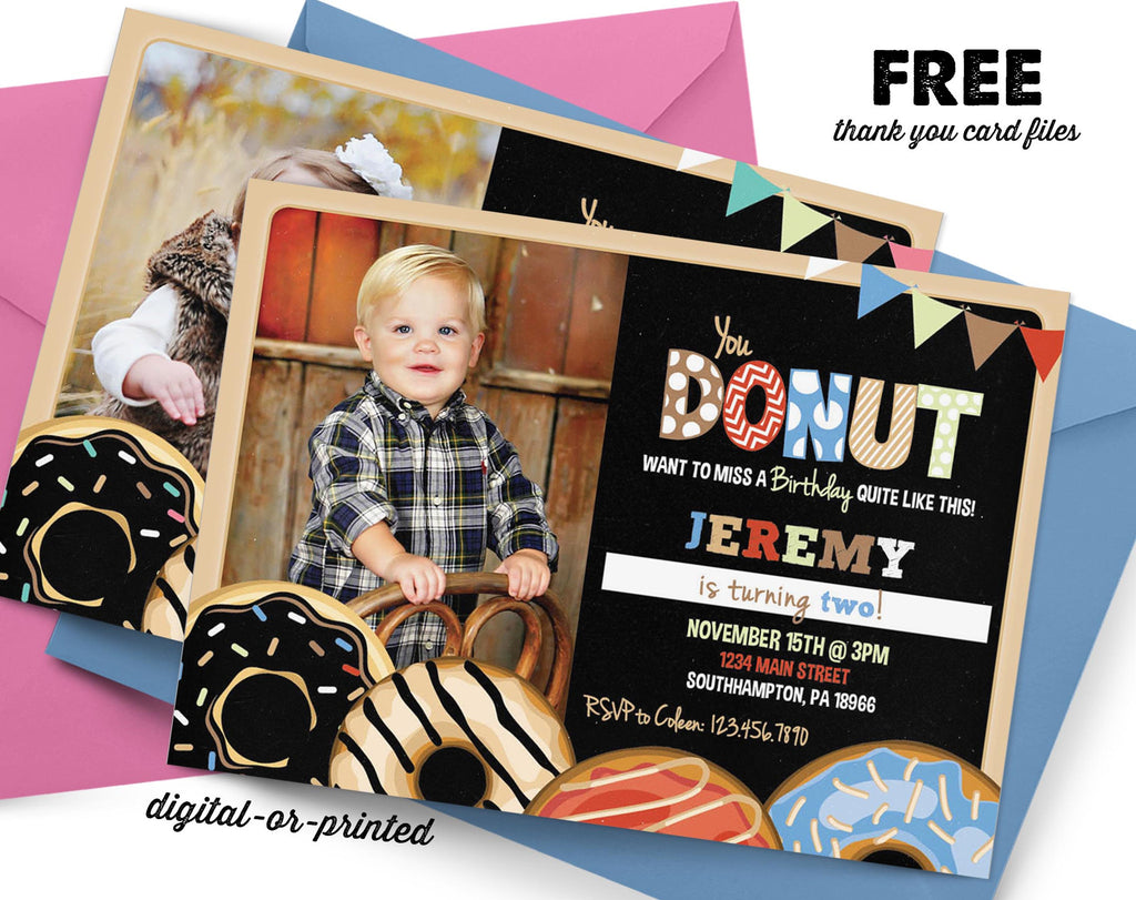 Donut Chalkboard Birthday Invitation - AbbyReese Design