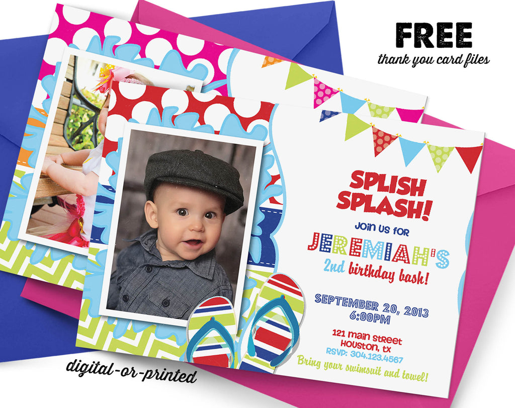 Splish Splash Party Birthday Invitation