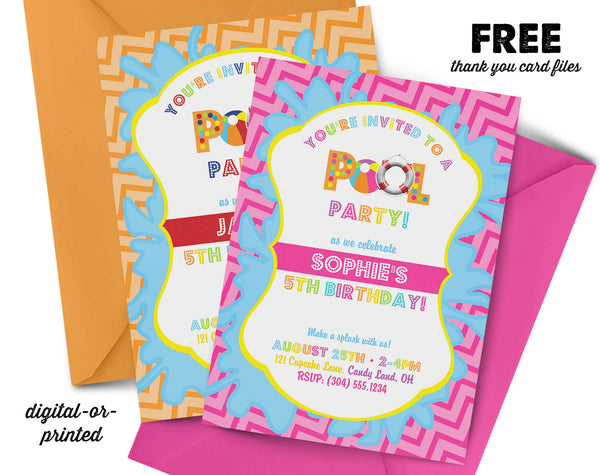 pool party Birthday Invitation, splash party invitation, splash birthday, party invitation printable, FREE thank you card
