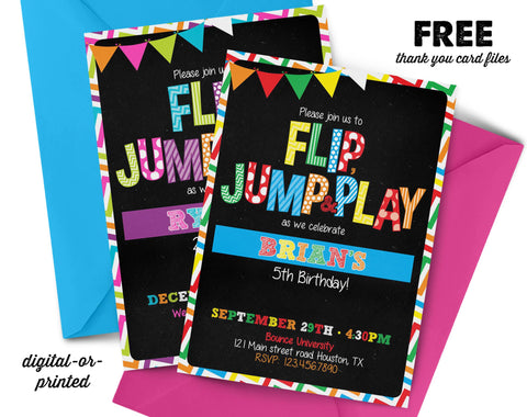Flip and Jump Chalkboard Birthday Invitation - AbbyReese Design