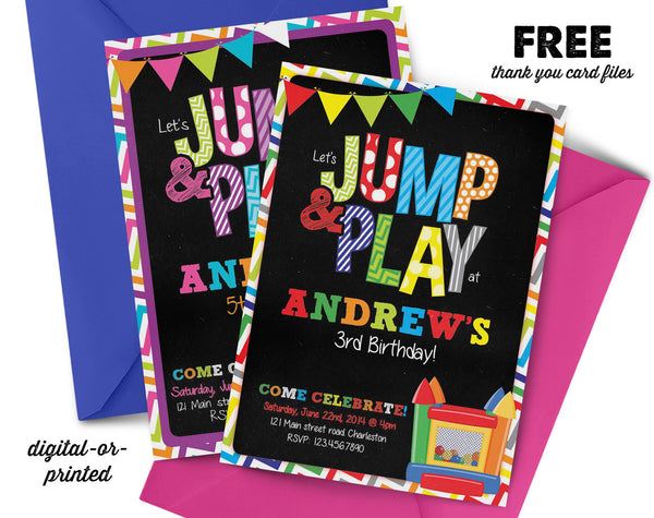 Jump Chalkboard Birthday Invitation - AbbyReese Design