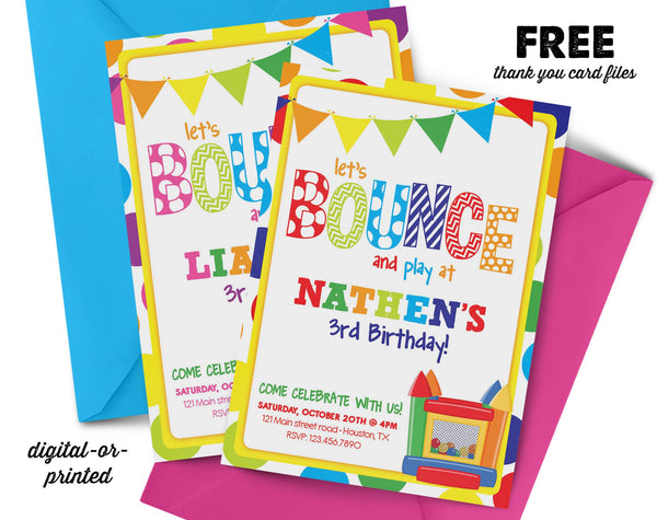Bounce House Birthday Invitation, first birthday party invitation, Bounce Party, Jump Party, party invitation printable