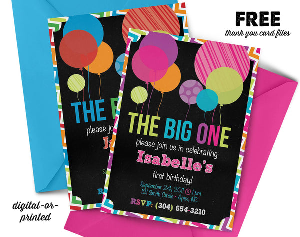 Big ONE Birthday Invitation - AbbyReese Design