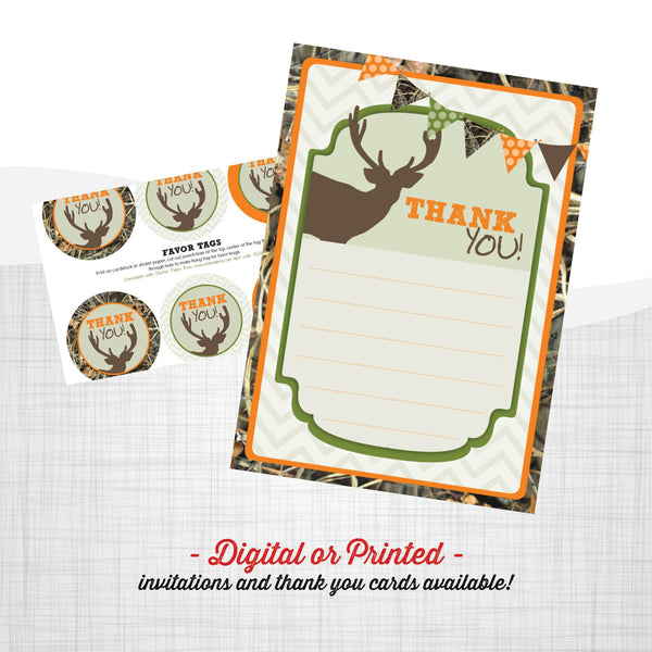 Camo Deer Hunting Birthday Invitation, Hunting party invitation, deer birthday, party invitation printable