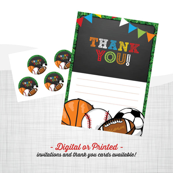 sports party Birthday Invitation, sports party invitation, sports birthday, party invitation printable