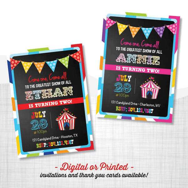 Carnival Chalkboard Birthday Invitation - AbbyReese Design