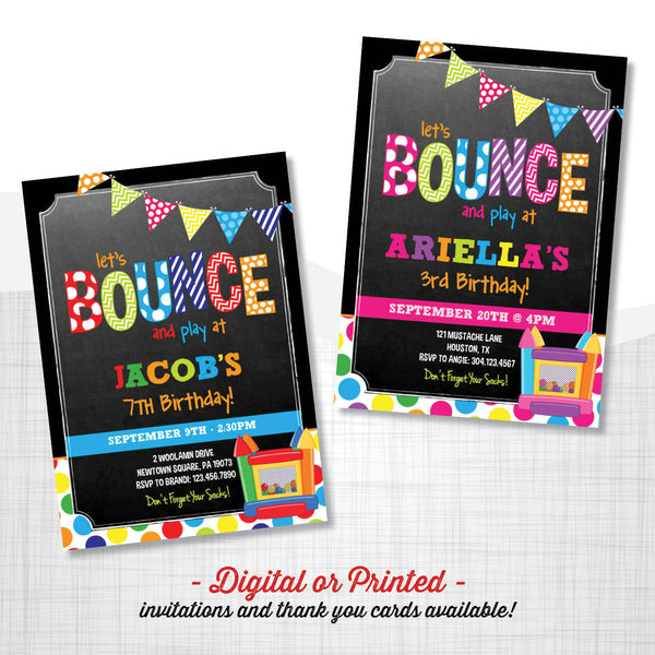Bounce Chalkboard Birthday Invitation - AbbyReese Design