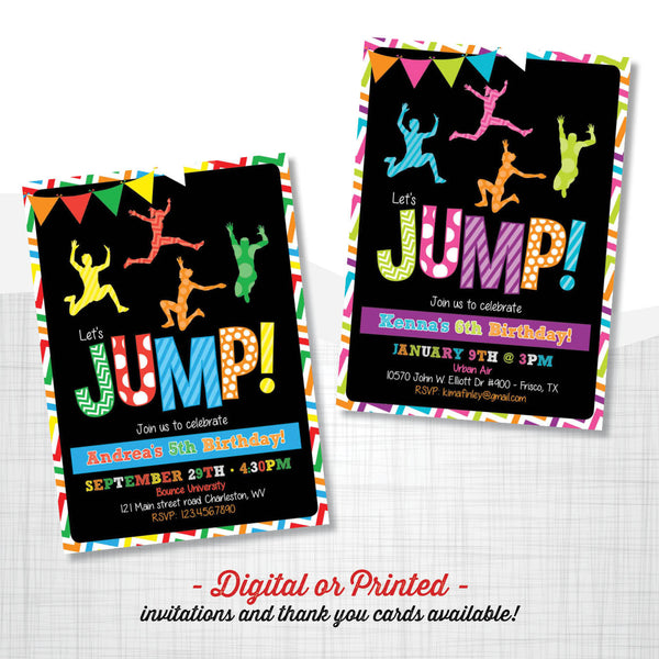 Jump Chalkboard Birthday Invitation, first birthday party invitation, Bounce Party, Jump Party, party invitation printable