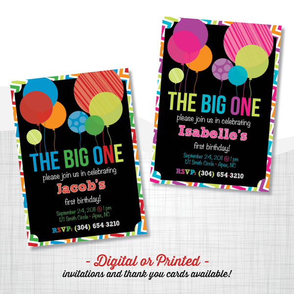 the Big ONE Birthday Invitation, first birthday party invitation, first birthday, party invitation printable