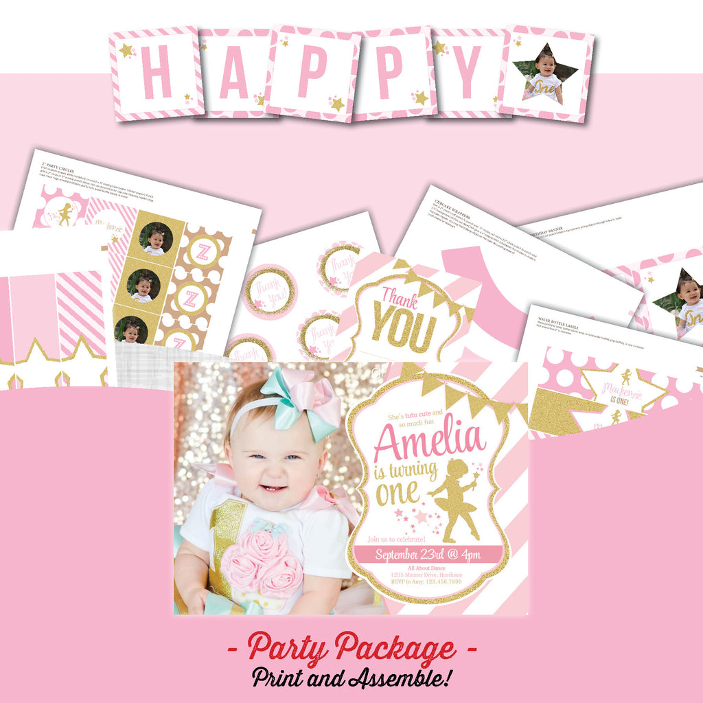 Ballerina Glitter Birthday Party Package – AbbyReese Design