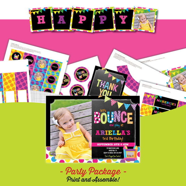 Bounce House Chalkboard Birthday Party Package - AbbyReese Design