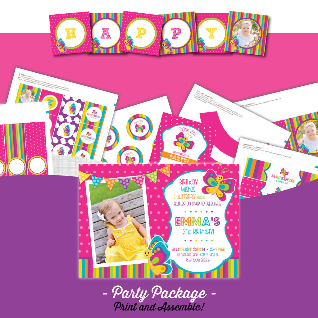 Butterfly Birthday Party Package - AbbyReese Design