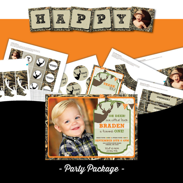 Camo Birthday Invitation party package, Hunting birthday party invitation, camouflage party printables, party package, deer birthday, party invitation printable
