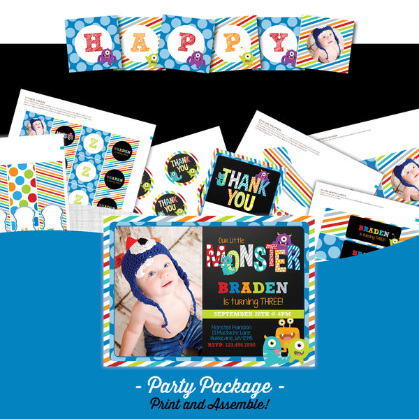Monster Chalkboard Birthday Party Package - AbbyReese Design