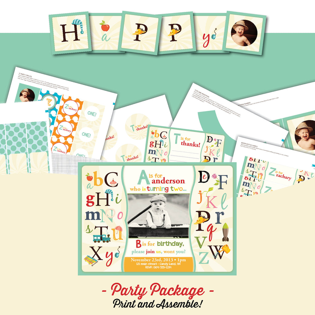 Alphabet Birthday Party Package - AbbyReese Design