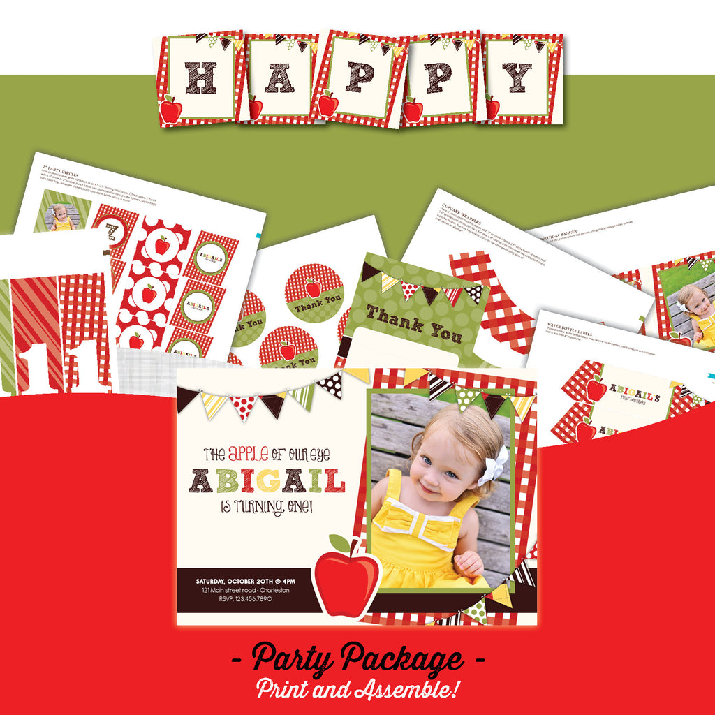 Apple Invitation party package, Apple of my eye birthday party invitation, Fall party printables, party package, Apple birthday, party invitation printable