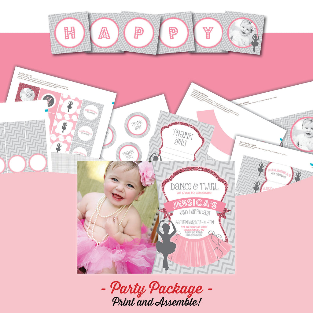Ballerina Invitation party package, Dance birthday party invitation, Dancer party printables, Ballet party package, Ballerina birthday, party invitation printable