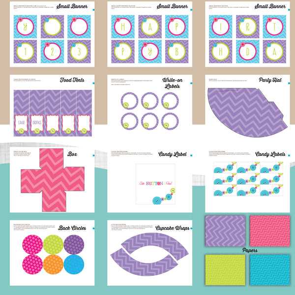 Cute as a Button Birthday Party Package - AbbyReese Design