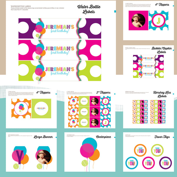 Rainbow First Birthday Party Package - AbbyReese Design