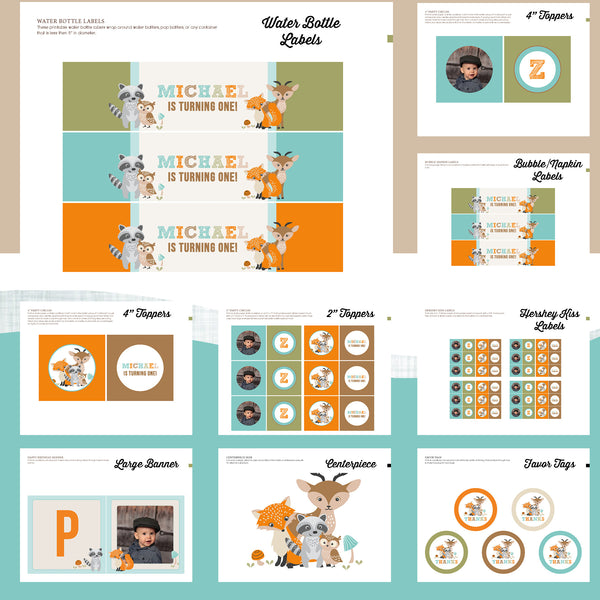 Woodland Birthday Party Package - AbbyReese Design