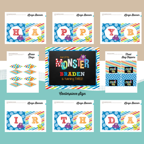Monster Invitation party package, Monster Bash birthday party invitation, Monster Chalkboard party printables, Monsters party package, Monster birthday, party invitation printable