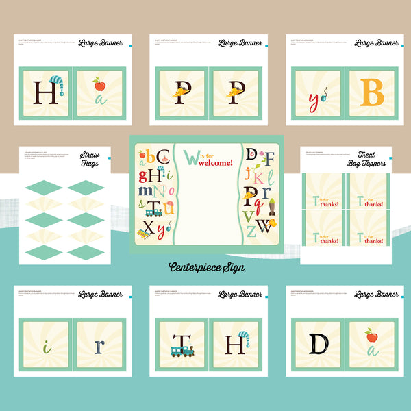 ABC Birthday Invitation party package, first birthday party invitation, party printables, party package, Alphabet birthday, party invitation printable