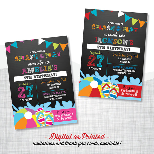 Splash Party Birthday Invitation - AbbyReese Design