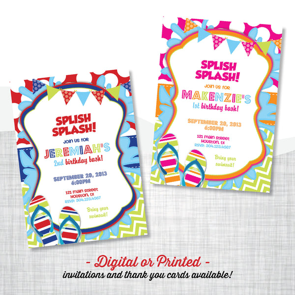 Splish Splash Party Birthday Invitation - AbbyReese Design
