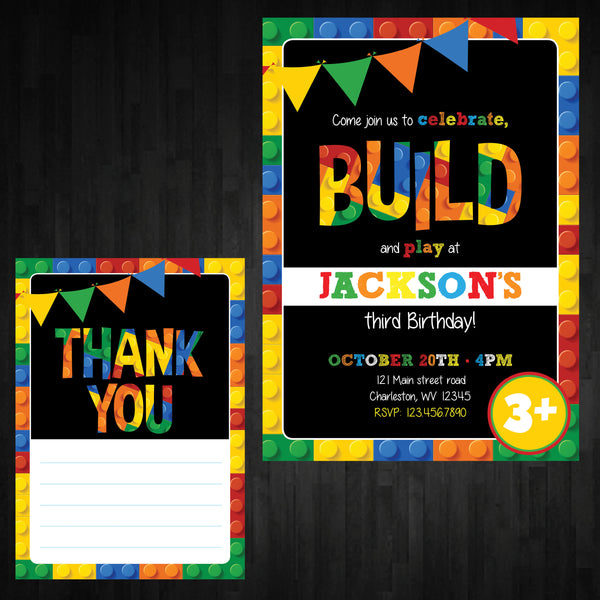Building Blocks Birthday Invitation - AbbyReese Design