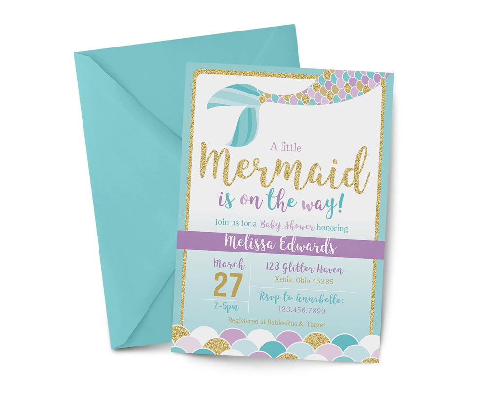 image about Printable Mermaid Baby Shower Invitations identified as Mermaid Boy or girl Shower Invitation