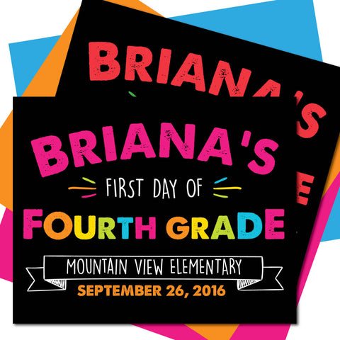 First day of Fourth Grade Sign, Last day of Fourth Grade Sign, Milestone Sign, Back to School Sign, Last day of School Poster, First day of School Poster.