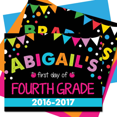 First day of Fourth Grade Sign, Last day of Fourth Grade Sign, Milestone Sign, Back to School Sign, Last day of School Poster, First day of School Poster