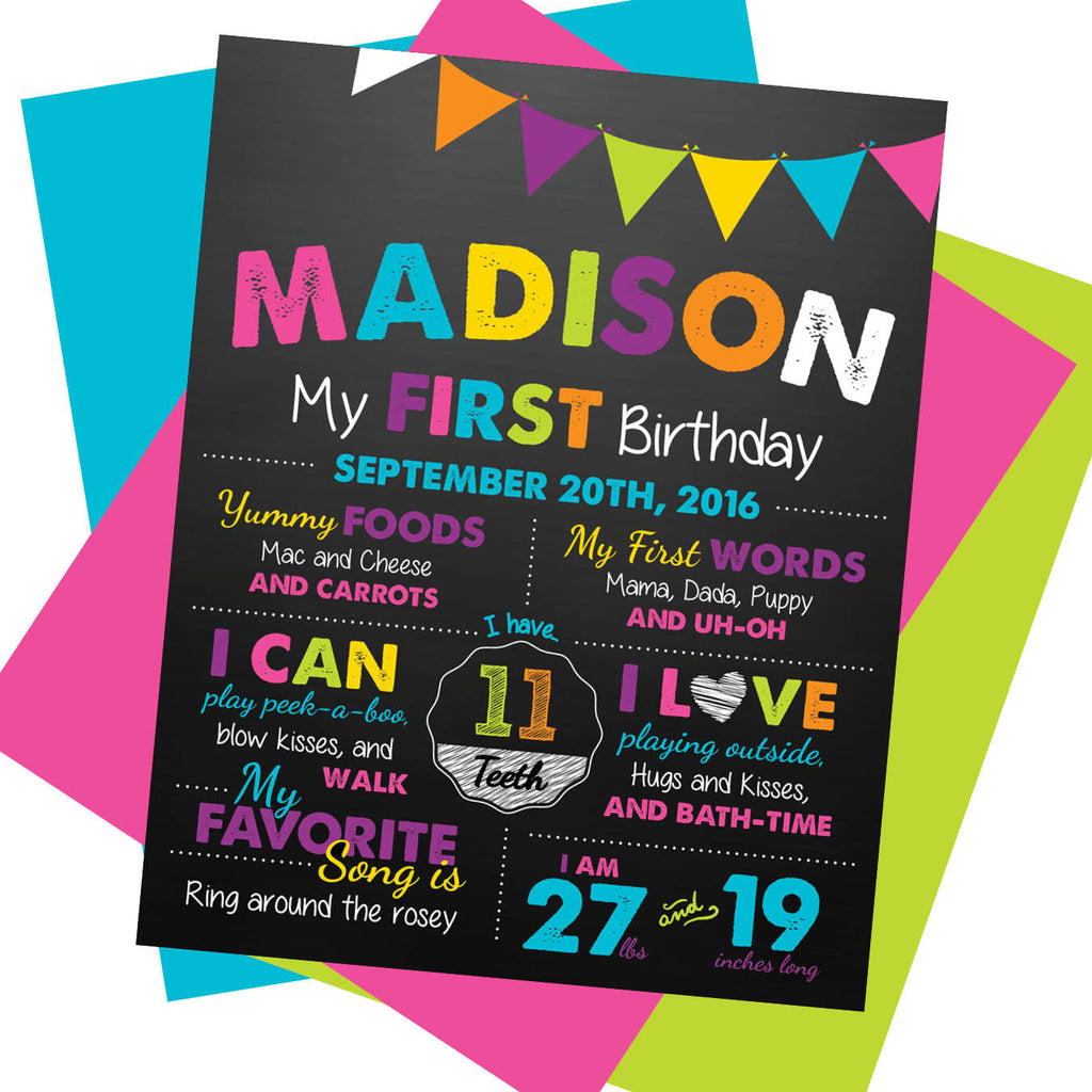 First Birthday Milestone Sign - AbbyReese Design