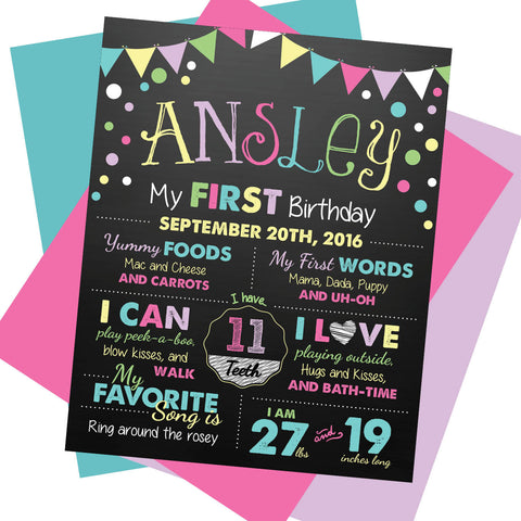 Rainbow First Birthday Milestone Sign - AbbyReese Design