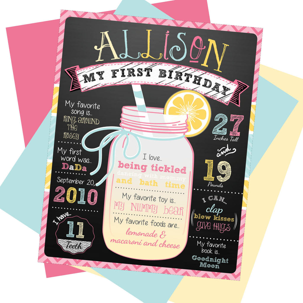 Lemonade First Birthday Milestone Sign - AbbyReese Design